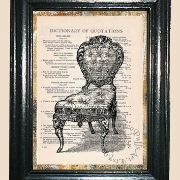 Antique Cushion Chair - Vintage Dictionary Book Page Art Print Upcycled Book Art Mixed Media Art