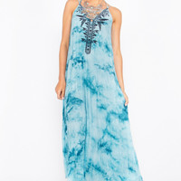 Sugarlips Zuri Tie Dye Embroidered Boho Maxi Dress