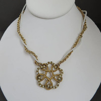 Vintage Faux Pearl Pendant Necklace | Gold Tone Twisted Pearl Necklace