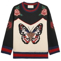 Indie Designs Gucci Inspired Big Butterfly Applique Embroidered Sweatshirt