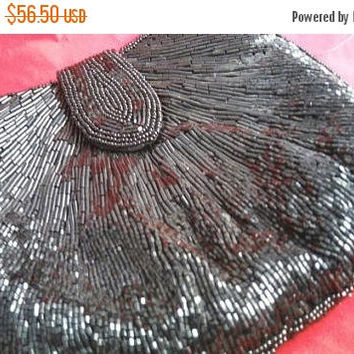 On Sale Vintage La Regale Beaded Clutch Purse, 80s 90s Collectible Black Tie Formal High End Well Made Old Hollywood Glamour Style Handbag