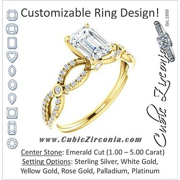 Cubic Zirconia Engagement Ring- The Aashi (Customizable Emerald Cut Design with Infinity-inspired Split Pavé Band and Bezel Peekaboo Accents)