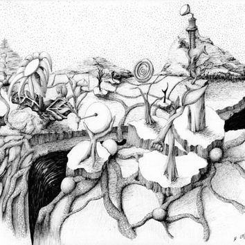 EDGE: pen and ink surreal landscape black and white art, art print, landscape drawing 8x10 Limited Edition Print