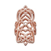 Cubic Zirconia Rose Gold Tone Sterling Silver Filigree Ring (White)