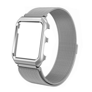 Compatible for Apple Watch Band with Case 38mm, Stainless Steel Mesh Milanese Loop with Adjustable Magnetic Closure Replacement Wristband iWatch Band for Apple Watch Series 3 2 1 - Silver