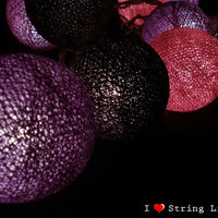 Dark Purple set Cotton Ball String Lights For Wedding House decoration and Party Supply (20 Balls /Set)