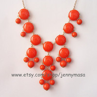 Red Coral Jewelry -Bubble Statement Necklace,holiday party,bridesmaid gift,statement necklace,Jewelry,beaded jewelry