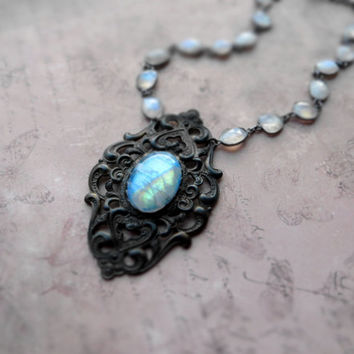 Bohemian vintage patina moonstone necklace / statement victorian costume / natural flashy rainbow moonstone, sterling silver, oxidized brass