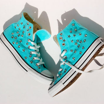 Star Studded Tiffany Converse - Studded Converse - High Tops - Star and Rhinestone Studs
