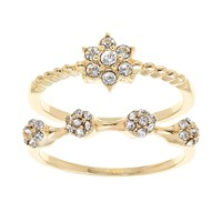 Gold Tone Simulated Crystal Flower & Cluster Ring Set (Grey)