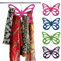 Evelots® 2 Velvet Butterfly Scarf Hangers - Organize, & Store Scarves