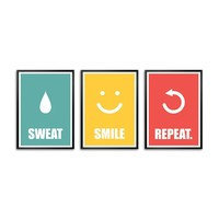 """Lab No. 4 Sweat Smile Repeat Gym Framed Poster (Set Of 3) Size A3 (16.5"""" x 11.7"""")"""