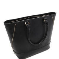 Zip-Side Faux Leather Tote