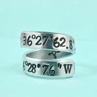 Latitude Longitude Coordinates Spiral Ring - Hand Stamped Aluminum Ring, Meaningful Personalized Gift