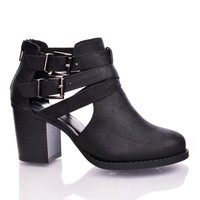 Scribe Black by Soda, Black PU Round Toe Dual Buckle Side Cut Out Block Stacked Heel Ankle Bootie