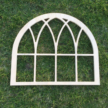 Large Vintage Inspired Arch Window Frame Wood Cut Wall Art Sign Decor DIY
