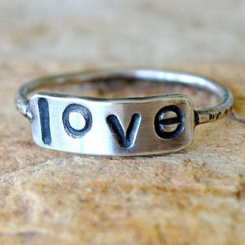 Eco Friendly Recycled Sterling Silver - Personalized Hand Stamped Ring - Custom Size