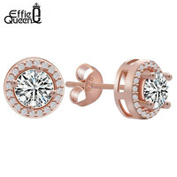 Elegant Rose Stud Zirconia Earrings
