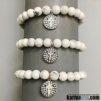 FAITH: White Turquoise | Pave Cross Disc Yoga Chakra Bracelet