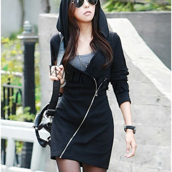 Women Cool Black Oblique Zipper Waisted Hoodie Hooded Top Mini Hip Dress Europe SV005850 = 1931820676