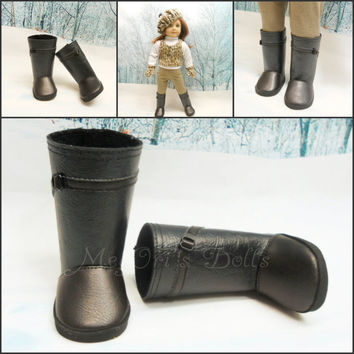 American Girl doll boots, Black with Brown Trim, Tall Boots, Faux Leather Boots, Riding Boots