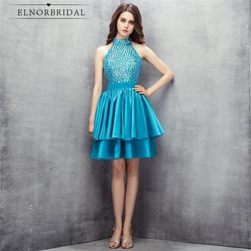Luxury Beaded Cocktail Dresses Short 2018 Vestidos Coctel High Neck Sexy Women Party Dress Formal Prom Gowns