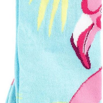 Women'S Fun Novelty Design Knee High Socks With Pink Flamingo Prints For Fashion