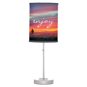 """Enjoy"" quote red orange & blue sunrise table lamp"