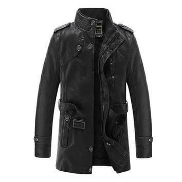Leather Jacket Men Brand Motorcycle Artificial Jaqueta De Couro Masculina Faux Fur Liner Mens Leather Jackets And Coats 3xl