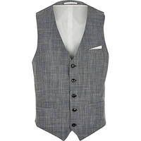 River Island MensGrey wool and linen-blend vest
