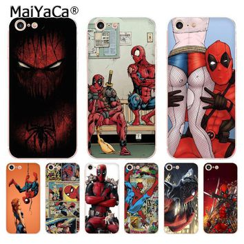 MaiYaCa Deadpool & Spiderman soft tpu phone case cover for Apple iPhone 8 7 6 6S Plus X 5 5S SE 5C 4 4S case funda