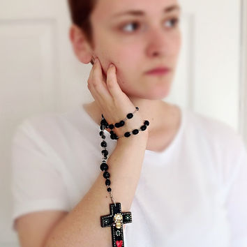 Wood cross necklace, black cross necklace, rosary style, y necklace, day of the dead, wooden cross charm, gothic necklace, painted cross, sk