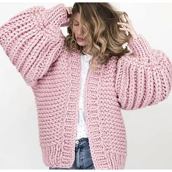 2018 Women's Winter Sweater Open Stitch Loose Knitted Cardigan