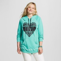 Women's Plus Size Long Sleeve Burnwash Front Pocket Love Heart Hoodie - Miss Chievous (Juniors')