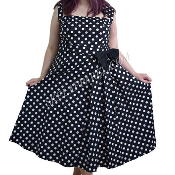 Plus Size 60's Vintage Polka Dot Belted Bow Swing Party Dress