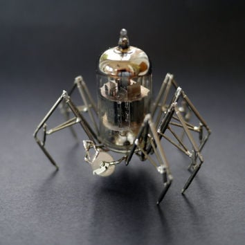Vacuum Tube Spider Sculpture No 4 Mechanical Recycled Watch Parts Clockwork Arachnid Figurine Stems Lightbulb Arthropod A Mechanical Mind