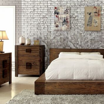 Furniture of america CM7628 5 pc janeiro ii collection transitional style rustic natural tone finish wood queen bed set