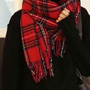 Red and Blue Plaid Fringed Scarf