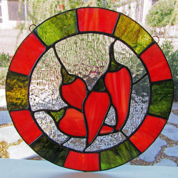 Red Peppers Stained Glass Sun Catcher ~ Southwestern Style Stained Glass ~ Home Decor