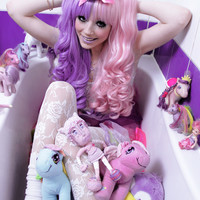 Sweetheart, Lilac and Pink Twin Tails Gothic Lolita Cosplay Wig
