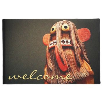 """Welcome"" cute fun silly hairy face photo doormat"