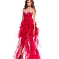 2014 Prom Dresses - Red Chiffon High Low Sweetheart Prom Dress