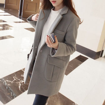Lapel Slim Casual Long Sleeves Knee-length Thick Woolen Coat