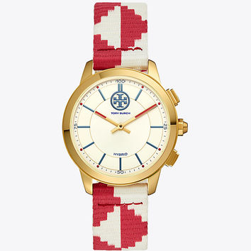 Tory Burch Torytrack Hybrid Smartwatch, Red/ivory/luggage/gold-tone, 38mm