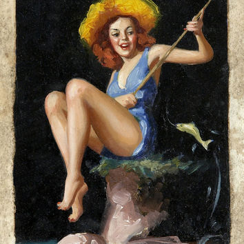 Pin-Up Girl Wall Decal Poster Sticker - Pin Up Study - Red Hair Redhead Pinup Pin Up
