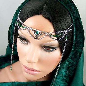 Shelwyn - Celtic Emerald Green Swarovski Antique Silver Pewter Knot Renaissance Headpiece