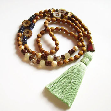 Long wood beaded necklace with tassel and czech glass beads, Boho chic brown and blue jewelry gift
