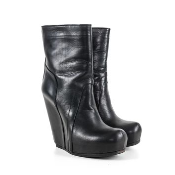 Rick Owens Black Wedge Boots