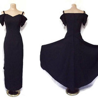 Vintage 80s Formal Dress | 1980s Gown With Train | Sweetheart Cocktail Dress | 80s Does 40s Style | Black Tie Dress | Dessy Creations | Sz 6