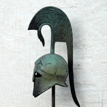 Greek Bronze Helmet with Crest by GreekMythos on Etsy